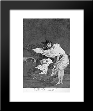 Caprichos - Plate 36: A Bad Night: Modern Custom Black Framed Art Print by Francisco Goya