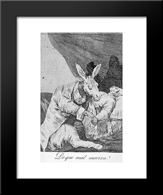 Caprichos - Plate 40: Of What Ill Will He Die?: Modern Custom Black Framed Art Print by Francisco Goya