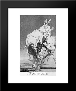 Caprichos - Plate 42: They Who Cannot: Modern Custom Black Framed Art Print by Francisco Goya