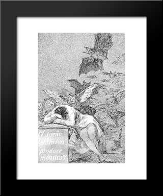 Caprichos - Plate 43: The Sleep Of Reason Produces Monsters: Modern Custom Black Framed Art Print by Francisco Goya