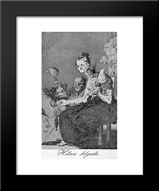 Caprichos - Plate 44: They Spin Finely: Modern Custom Black Framed Art Print by Francisco Goya