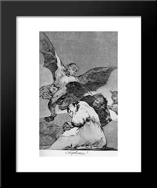 Caprichos - Plate 48: Tale-Bearers: Blasts Of Wind: Modern Custom Black Framed Art Print by Francisco Goya