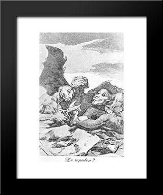 Caprichos - Plate 51: They Pare: Modern Custom Black Framed Art Print by Francisco Goya