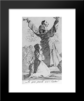 Caprichos - Plate 52: What A Tailor Can Do!: Modern Custom Black Framed Art Print by Francisco Goya