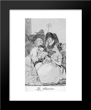 Caprichos - Plate 57: The Filiation: Modern Custom Black Framed Art Print by Francisco Goya