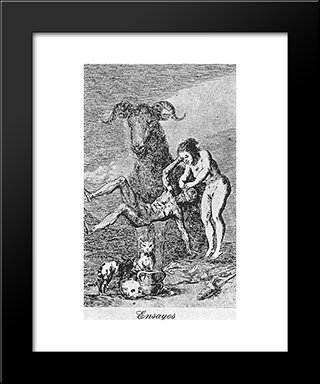 Caprichos - Plate 60: Experiments: Modern Custom Black Framed Art Print by Francisco Goya