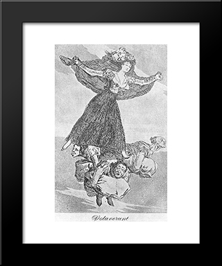 Caprichos - Plate 61: They Are Flying: Modern Custom Black Framed Art Print by Francisco Goya