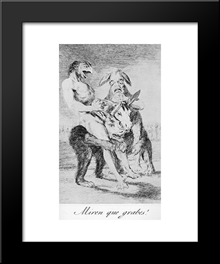 Caprichos - Plate 63: Look How Solemn They Are!: Modern Custom Black Framed Art Print by Francisco Goya