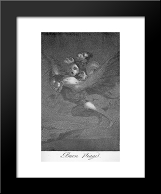 Caprichos - Plate 64: Bon Voyage: Modern Custom Black Framed Art Print by Francisco Goya