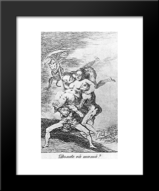 Caprichos - Plate 65: Where Is Mama Going?: Modern Custom Black Framed Art Print by Francisco Goya