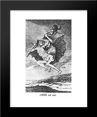Caprichos - Plate 66: Up They Go: Modern Custom Black Framed Art Print by Francisco Goya
