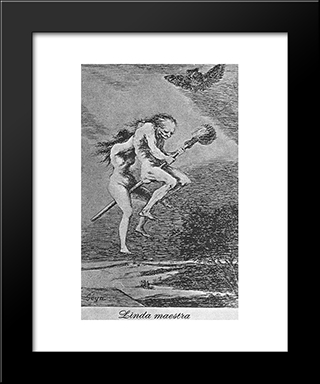 Caprichos - Plate 68: Lovely Teacher: Modern Custom Black Framed Art Print by Francisco Goya