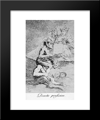 Caprichos - Plate 70: Devout Profession: Modern Custom Black Framed Art Print by Francisco Goya