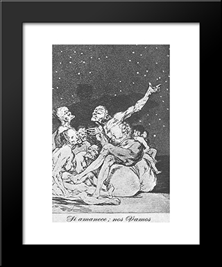Caprichos - Plate 71: Dawn Comes, We Go: Modern Custom Black Framed Art Print by Francisco Goya