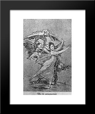 Caprichos - Plate 72: You Cannot Escape: Modern Custom Black Framed Art Print by Francisco Goya