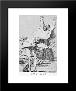 Caprichos - Plate 80: It Is Time: Modern Custom Black Framed Art Print by Francisco Goya