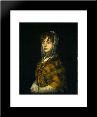 Senora Sabasa Garcia: Modern Custom Black Framed Art Print by Francisco Goya