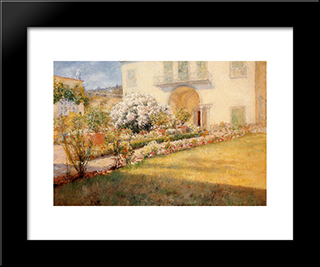 Florentine Villa: Modern Custom Black Framed Art Print by William Merritt Chase