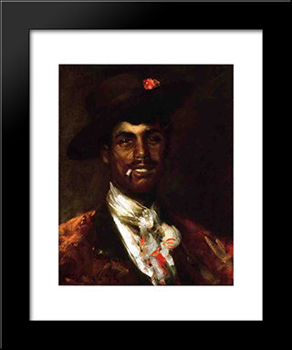 Gypsy Swell Aka A Spanish Gypsy: Modern Custom Black Framed Art Print by William Merritt Chase