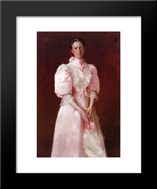 Study In Pink Aka Portrait Of Mrs. Robert P. Mcdougal: Modern Custom Black Framed Art Print by William Merritt Chase