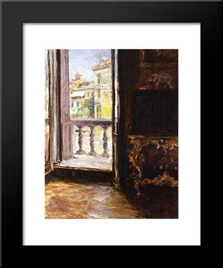 Venetian Balcony: Modern Custom Black Framed Art Print by William Merritt Chase
