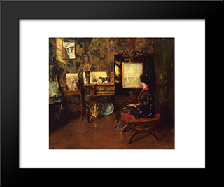 Alice In The Shinnecock Studio: Modern Custom Black Framed Art Print by William Merritt Chase