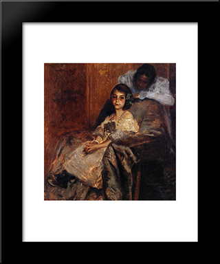 Dorothy And Her Sister: Modern Custom Black Framed Art Print by William Merritt Chase