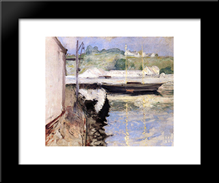 Sheds And Schooner, Gloucester: Modern Custom Black Framed Art Print by William Merritt Chase