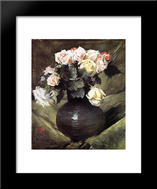 Flowers: Modern Custom Black Framed Art Print by William Merritt Chase
