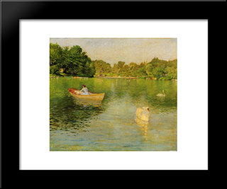 On The Lake, Central Park: Modern Custom Black Framed Art Print by William Merritt Chase