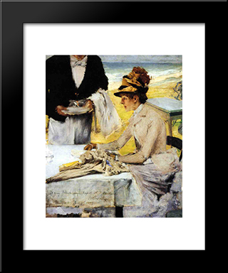 Ordering Lunch By The Seaside: Modern Custom Black Framed Art Print by William Merritt Chase