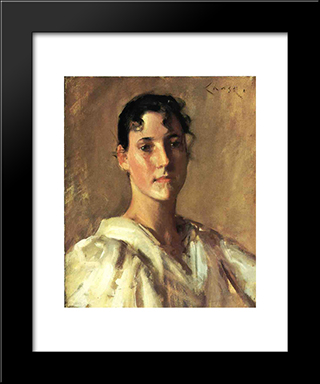 Portrait Of A Young Woman: Modern Custom Black Framed Art Print by William Merritt Chase