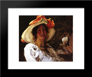 Portrait Of Clara Stephens Wearing A Hat With An Orange: Modern Custom Black Framed Art Print by William Merritt Chase