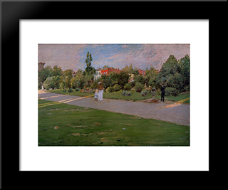 Park In Brooklyn: Modern Custom Black Framed Art Print by William Merritt Chase