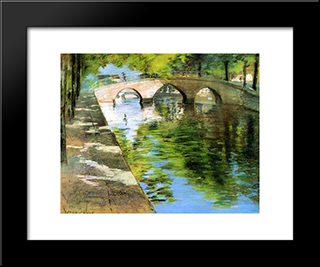 Reflections: Modern Custom Black Framed Art Print by William Merritt Chase