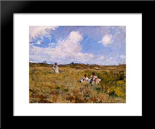 Shinnecock Landscape: Modern Custom Black Framed Art Print by William Merritt Chase