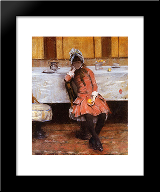 Young Girl On An Ocean Steamer: Modern Custom Black Framed Art Print by William Merritt Chase