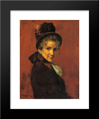 Portrait Of A Woman: Modern Custom Black Framed Art Print by William Merritt Chase