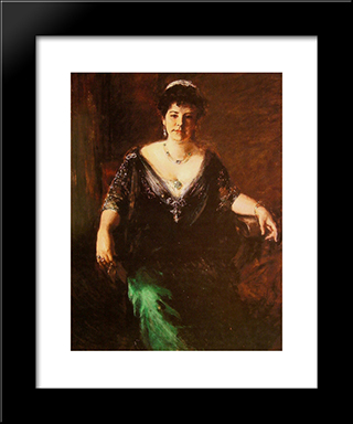 Portrait Of Mrs William Merritt Chase: Modern Custom Black Framed Art Print by William Merritt Chase