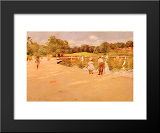 Lilliputian Boat-Lake - Central Park: Modern Custom Black Framed Art Print by William Merritt Chase
