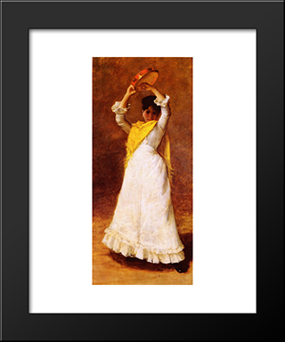 The Tamborine Girl: Modern Custom Black Framed Art Print by William Merritt Chase