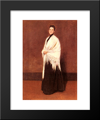 Portrait Of Mrs. C.: Modern Custom Black Framed Art Print by William Merritt Chase