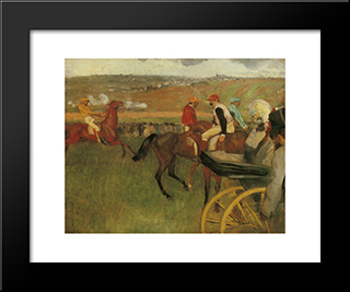 At The Races, Gentlemen Jockeys: Modern Custom Black Framed Art Print by Edgar Degas