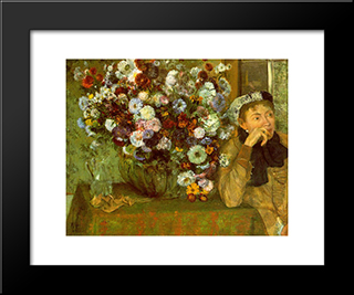 Madame Valpincon With Chrysanthemums: Modern Custom Black Framed Art Print by Edgar Degas