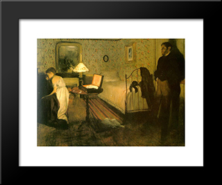 The Rape: Modern Custom Black Framed Art Print by Edgar Degas