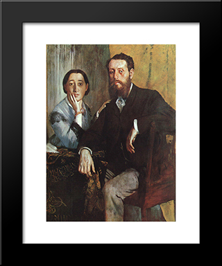 The Duke And Duchess Morbilli: Modern Custom Black Framed Art Print by Edgar Degas