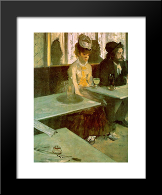 In A Cafe: Modern Custom Black Framed Art Print by Edgar Degas