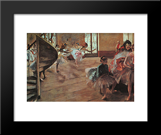 The Rehearsal: Modern Custom Black Framed Art Print by Edgar Degas