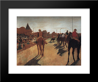 Racehorses In Front Of The Grandstand: Modern Custom Black Framed Art Print by Edgar Degas