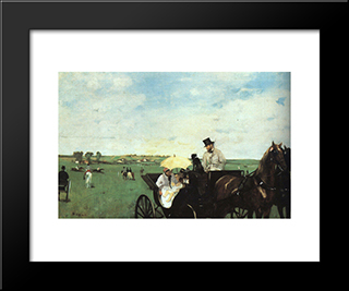 At The Races In The Country: Modern Custom Black Framed Art Print by Edgar Degas